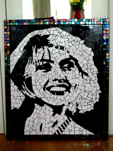 Debbie Harry mosaic made with ceramic and glass tiles.