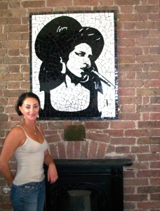 Sally Kendall with her Amy Winehouse mosaic at The Hawley Arms.
